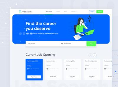 Job search landing page design