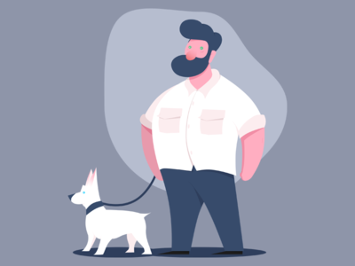 Character Petting Animal Illustration
