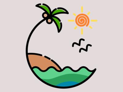 #1 Beach view line art art inkscape minimal icon vector logo design illustration