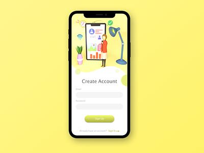 Sign Up app design mobile app uidesign ux dailyui ui character illustration design cinema4d c4d