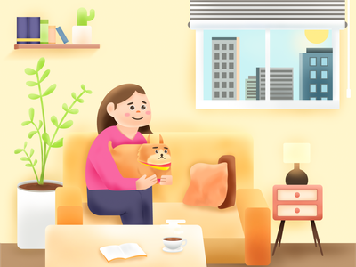 Stay Home coffe mom human dog room home digital illustration photoshop character design illustration