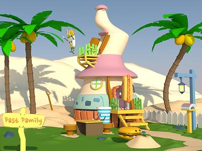 Fast Family digitalart 3d render 3d art lowpolyart lowpoly illustration design cinema4d character c4d
