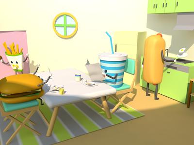 Good Morning digitalart 3d render 3d art lowpolyart lowpoly illustration design cinema4d character c4d