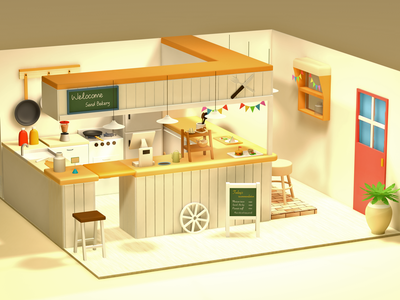 Bakery digitalart render 3d art lowpolyart lowpoly illustration design cinema4d c4d