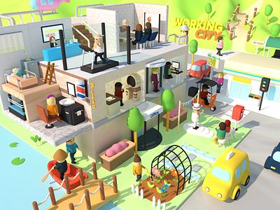 Working City render 3dcg digitalart character 3d art lowpoly illustration design cinema4d c4d