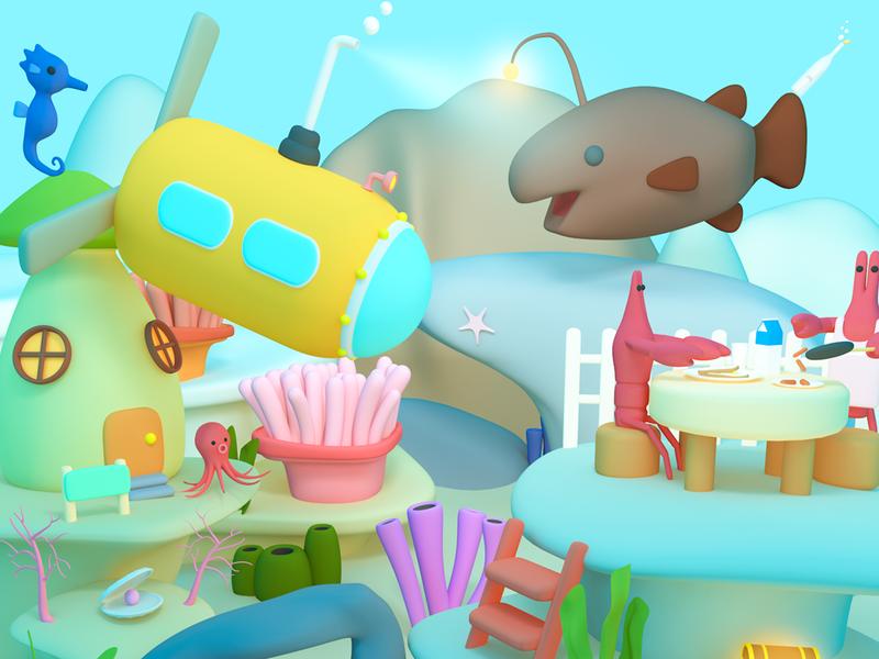 Under The Sea cartoon 3dcg 3d render digitalart 3d art character lowpoly illustration design cinema4d c4d