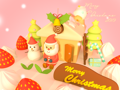 Merry Christmas 2019 cartoon 3d digitalart 3dcg character lowpoly illustration design cinema4d c4d