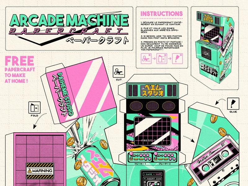 Arcadce Machine Papercraft download free papercraft game retrogaming arcade game machine arcade retro design japan graphic japanese design vintage retro paihemestudio paiheme illustration