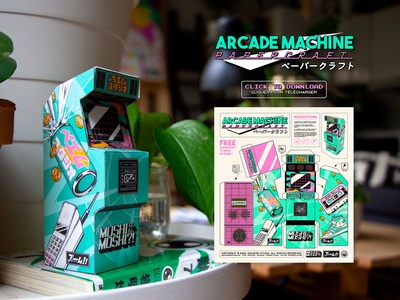 Arcade Machine Papercraft machine arcade machine papercraft vaporwave retrowave retrogaming arcade game arcade retro design japan graphic japanese design vintage retro paihemestudio paiheme illustration