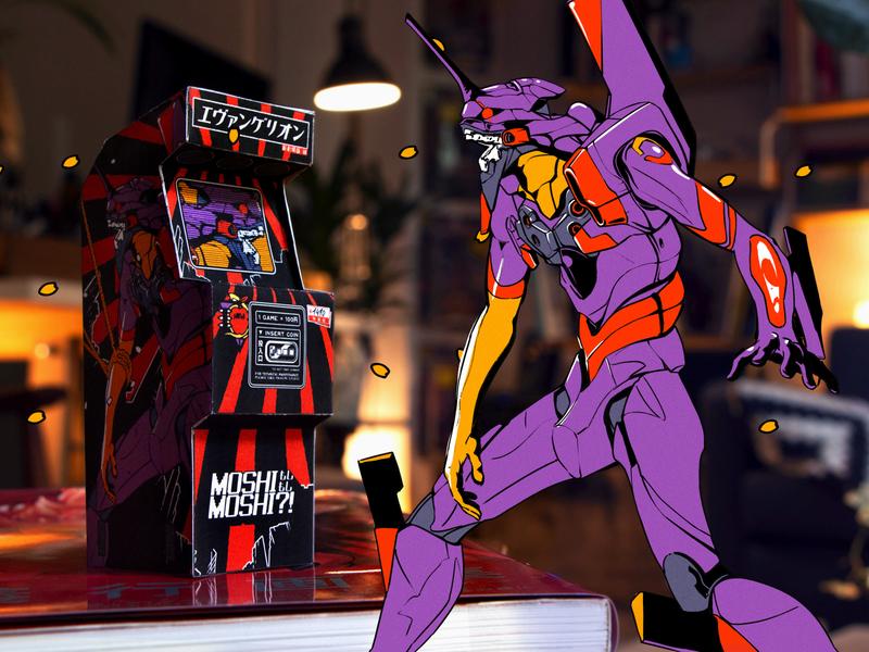 EVANGELION ARCADE MACHINE papercut papercraft arcade genesis neon evangelion retro design japan graphic japanese design vintage retro paihemestudio paiheme illustration