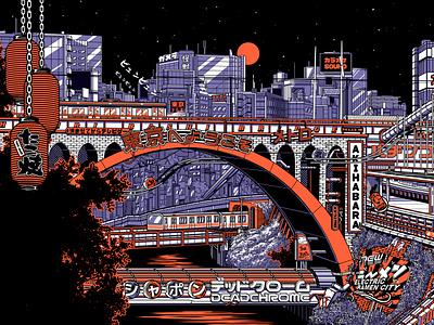 TOKYO BY NIGHT 1/2 cityscape city illustration train night city tokyo retro design japan graphic japanese design vintage retro paihemestudio paiheme illustration