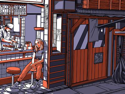 TOKYO BY NIGHT 2/2 lofi tokyo girl ramen izakaya night city retro design japan graphic japanese design vintage retro paihemestudio paiheme illustration
