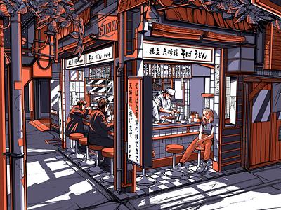 TOKYO BY NIGHT 2/2 typography vibe lofi city night noodles restaurant izakaya tokyo retro design japan graphic japanese design vintage retro paihemestudio paiheme illustration
