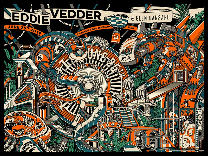 Eddie Vedder Poster concert poster gig poster pearl jam eddie vedder japan typography graphic artists retro design estampe japanese graphic artist graphic art graphic design vintage retro paihemestudio paiheme illustration