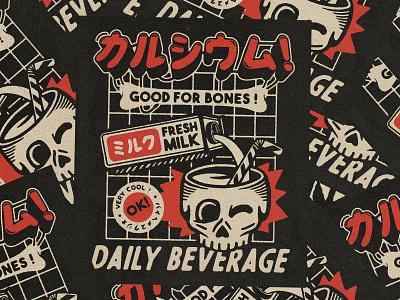 Calcium ! Good For Bones ! beverage daily skull tattoo typography logo branding manga japan retro design estampe japanese graphic art graphic design vintage retro paihemestudio paiheme illustration