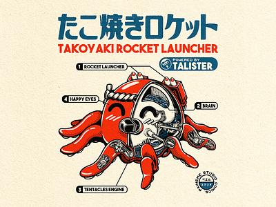 Takoyaki Rocket Launcher ! tattoo graphic graphic art japanese art t-shirt illustration t-shirt design takoyaki branding typography logo manga retro design japan japanese design vintage retro paihemestudio paiheme illustration