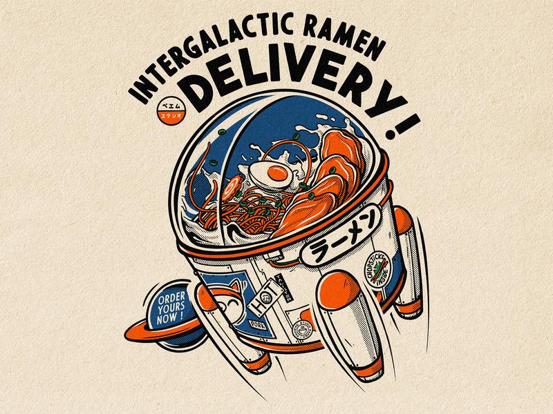 Intergalactic Ramen Delivery ! delivery pork japanese art japanese food food ramen tattoo logo manga retro design japan graphic art graphic japanese design vintage retro paihemestudio paiheme illustration