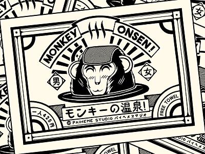 Monkey Onsen ! t-shirt design graphic artist graphic art estampe tattoo onsen monkey logo branding manga retro design japan graphic japanese design vintage retro paihemestudio paiheme illustration