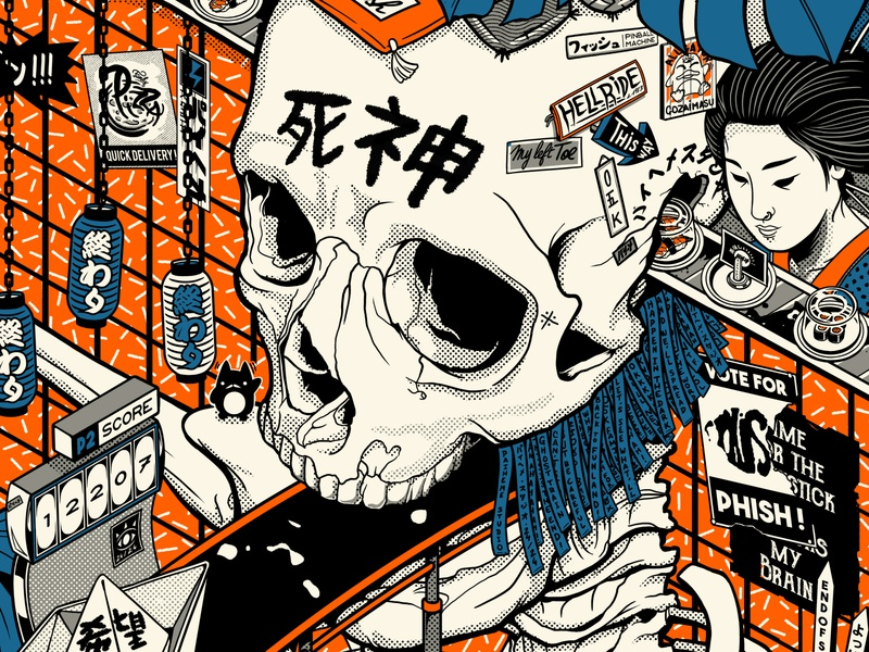 Phish Poster Close-up ! 2 mangaart manga poster designer poster art poster design phish band poster retro design japan graphic japanese design vintage retro paihemestudio paiheme illustration