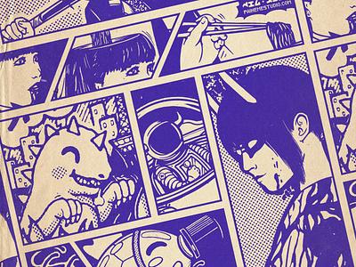 Together ! demon noodles space yokai godzilla mangaart manga black friday sale black friday japan graphic japanese design graphic art vintage retro paihemestudio paiheme illustration