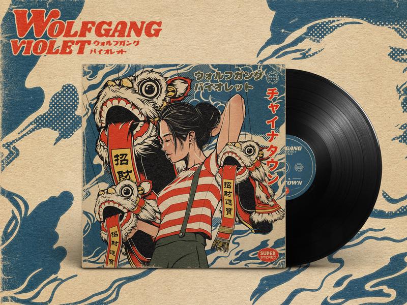 Wolfgang Violet Vinyl Cover ! vinyl cover vinyl album artwork album cover music art artwork music wolfgang violet japanese art japanese vinyl retro design japan graphic japanese design vintage retro paihemestudio paiheme illustration