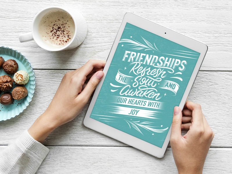 Friendship Lettering Design design personal work print mockup leaf challenge quote ribbon awake soul refresh joy friendship baby blue bible flowers type procreate lettering typography