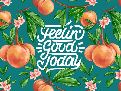 Peachy Pattern garden feel today good happy positive illustration brush procreate handdrawn watercolor details type bloom flower affinity lettering typography pattern peach