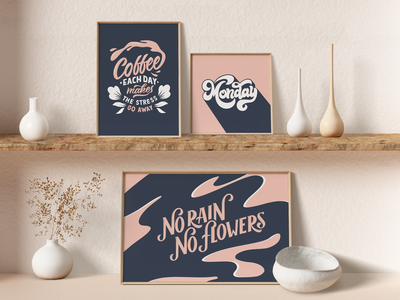 Lettering Prints type print mockup details christmas gift shadow floral aesthetic abstract flowers contrast procreate inspiring handdrawn monday motivation coffee lover poster print lettering