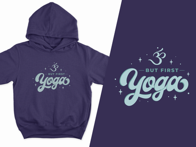 Yoga Hoodie excercise woman female graphic purple sky apparel merch typography stars quote but first lettering symbol design sparkle hipster hippy hoodie yoga