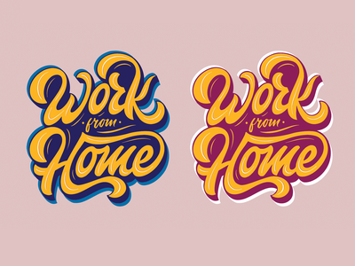 Work From Home expand sticker feminine work script creative quarantype lettering typography type illustration procreate work in progress stickers