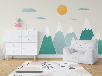 Wall Decals wall art cute tapestry illustration minimal simplistic baby kid business gift children mountain pack sticker freepik room nursery interior decal wall
