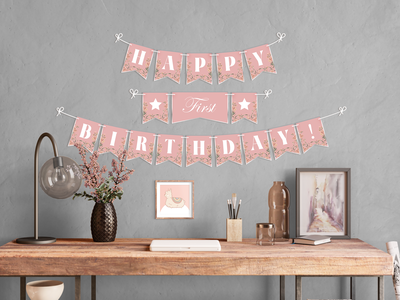 Birthday Flags birthday party gift flowers floral illustrator photoshop downloadable decor wall decoration golden pink children shop etsy printable banner flag birthday