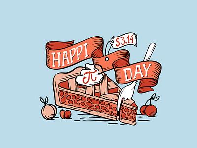 Happi Pi Day photoshop illustrator procreate t-shirt design fun art typography lettering fruits illustration fork price tag whipped cream ribbon 3.14 pie art
