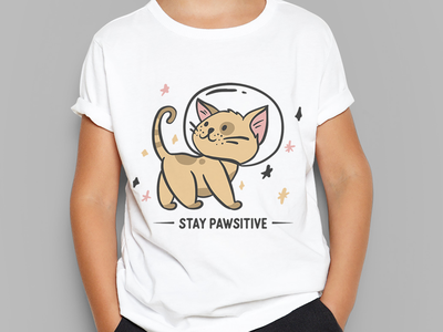 Stay Pawsitive handdrawn art personal work illustration vector animal cute stars positive quote space austronaut kitty kitten cat boy child kid tshirt design stay pawsitive