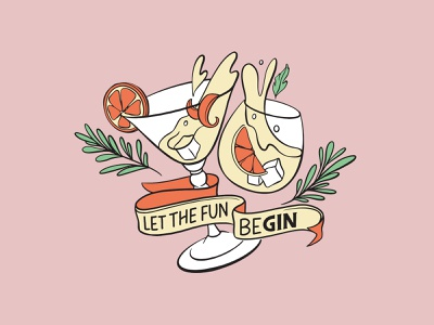 Let The Fun Begin procreate type bar quirky art cocktail playful leaf orange handlettering typography alcohol glass illustration lettering gin fun let the fun begin
