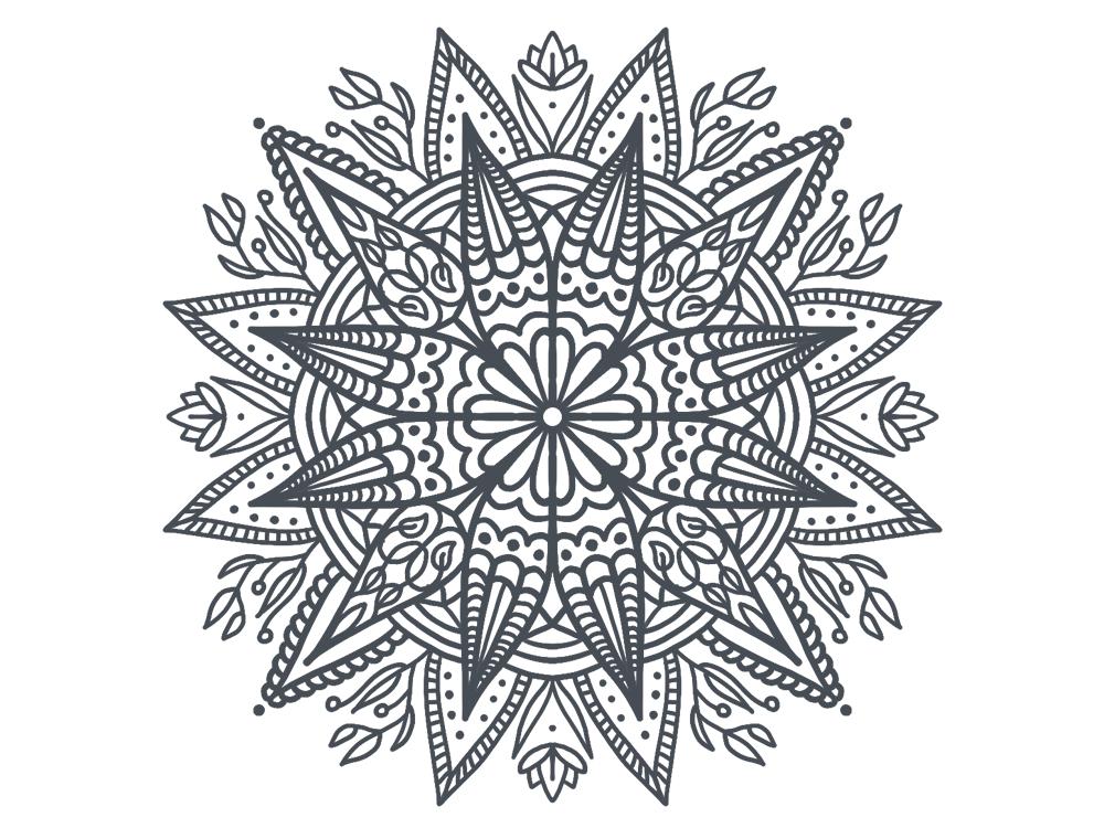 Mandala flower trippy black mandala