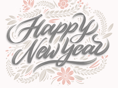 New Year design calligraphy ipadlettering lettering art brush lettering brush procreate art illustration flower illustration flower art flower typography flower typography typography art handlettering lettering