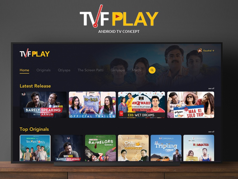 TVF Play | Android TV App by Kaushal Mishra on Dribbble