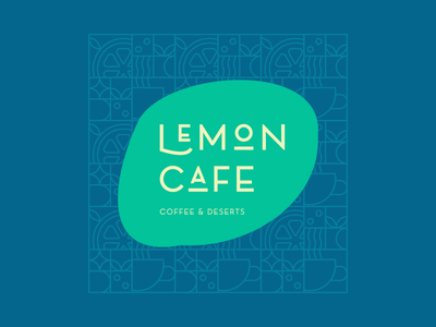 Lemon Cafe cafe pattern typography branding vector design art