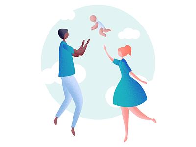 Parents texture cloud baby parent design illustration art