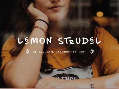 Lemon Strudel Font ornaments all caps handwritten font typography design art