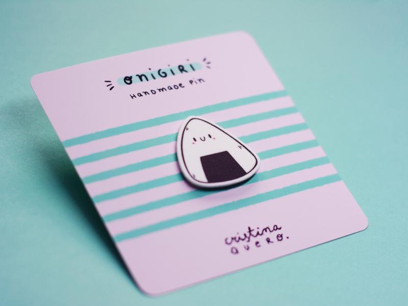 Onigiri Handmade Pin pin handmade onigiri character love illustrator cartoon art ilustración cute graphic design illustration art illustration
