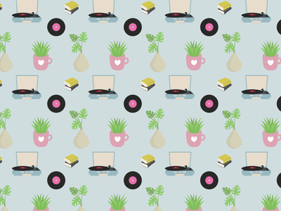 Pattern from Sweet Home set creative market monstera seamless pattern pattern coffee vinyl record vinyl drawing design colourful love cute vector artwork vector illustrator graphic design cartoon ilustración illustration art illustration
