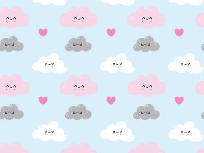 Clouds Pattern colourful creative market pink doodle kawaii love design character cute art vector artwork vector ilustracion illustrator cartoon ilustración graphic design illustration art illustration