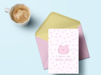 I love you beary much bear stationery design greeting cards cartoon character doodle pink colourful love design character ilustracion cute art illustrator cartoon ilustración graphic design illustration art illustration