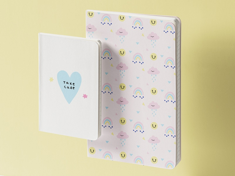 Notebooks branding design ilustracion art character ilustración graphic design illustration art rainbow cute love illustrator illustration seamless pattern stationery stationery design