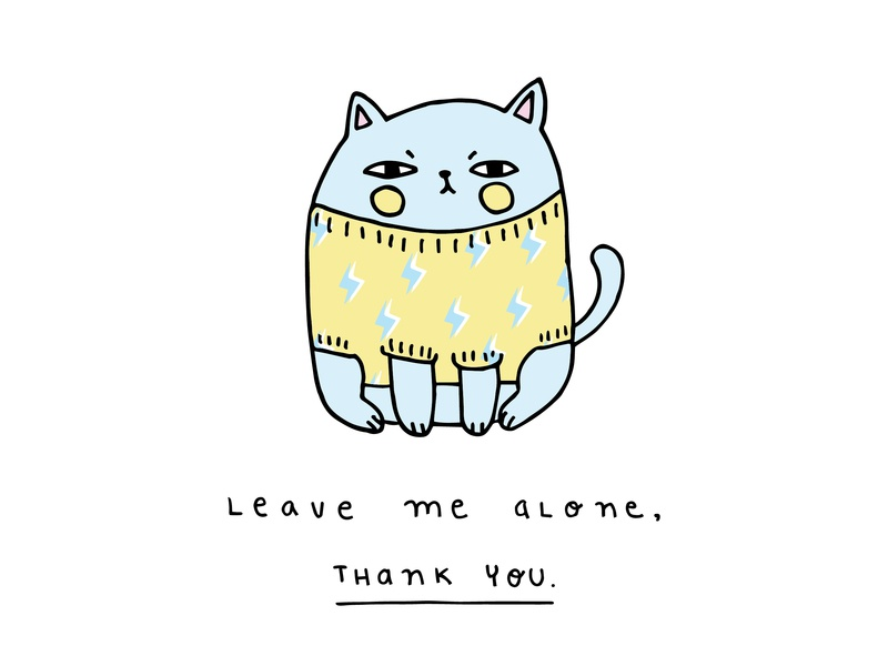 Leave me alone stationery design doodle cartoon character colourful drawing vector design character love cute cartoon art cat ilustración graphic design illustration art illustration