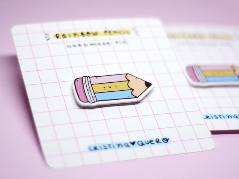 Rainbow pencil - Handmade pin smile rainbow pencil pink hand drawn etsy shop pin kawaii cute illustration handmade