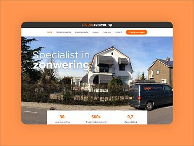 Website design blinds - Pieper Zonwering website webdesign sun blinds grey orange