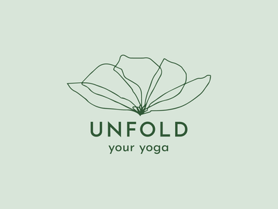 Unfold Your Yoga Logo yoga studio green nature yoga logo